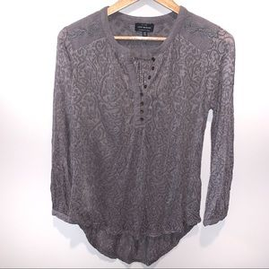 Lucky Brand Embroidered Blouse Long Sleeve